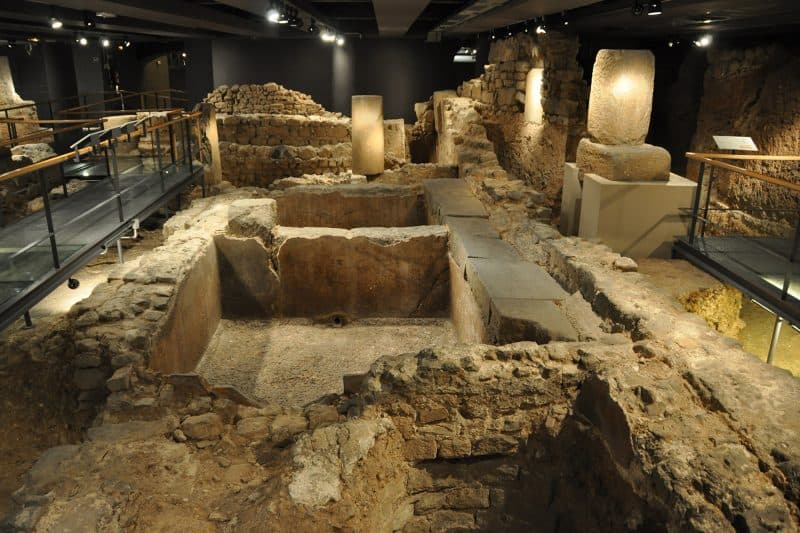 medieval ruins at barcelona history museum
