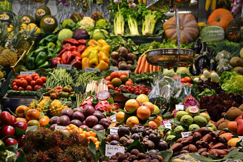 Colorful fruits and vegetables in la boqueria