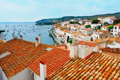 cadaques rooftops and boats
