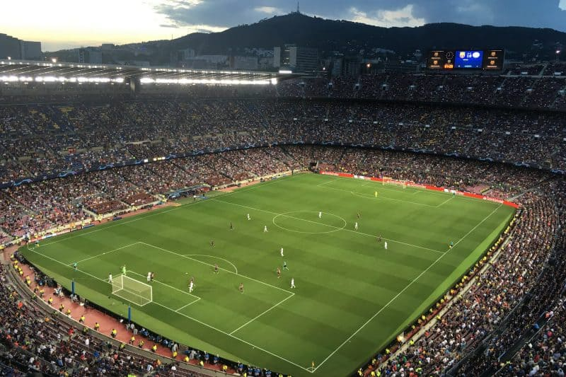 Camp Nou stadium with lots of people form above