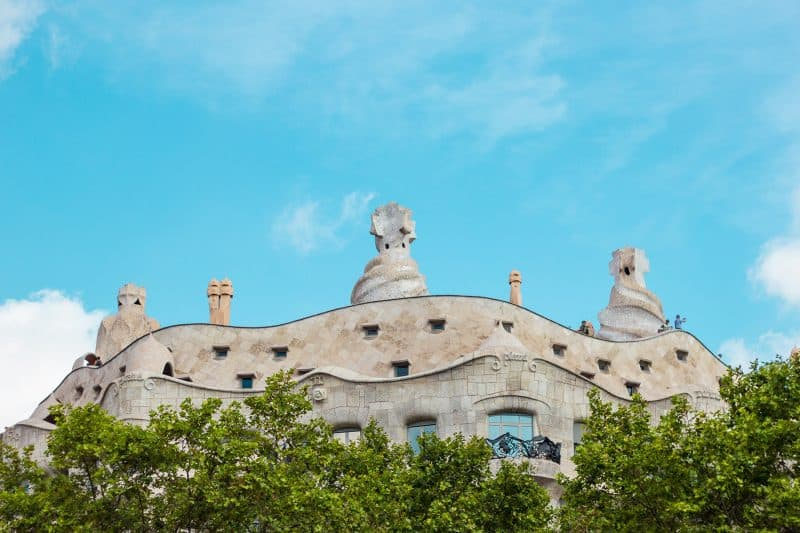 Casa Milà rooftop with trees