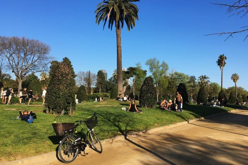 people relaxing in park de la ciutadella