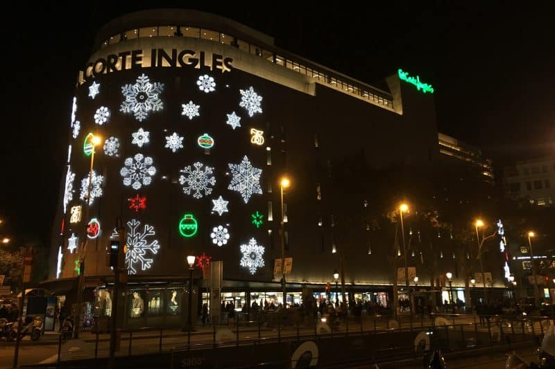 El Corte Ingles facade at night with Christmas decorations