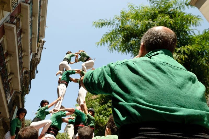 castells during the festa major of poble sec