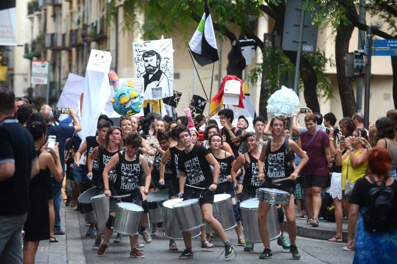 drummer group during the festa major of el raval