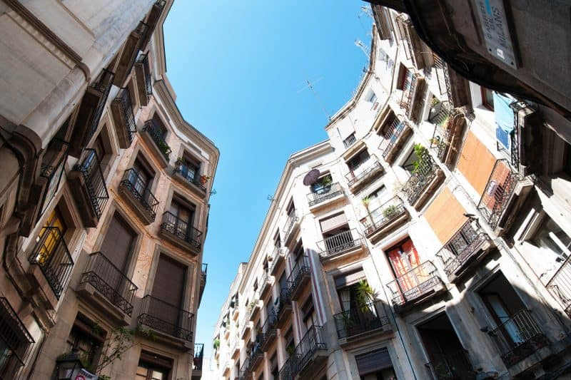 buildings in Barcelona's gothic quarter