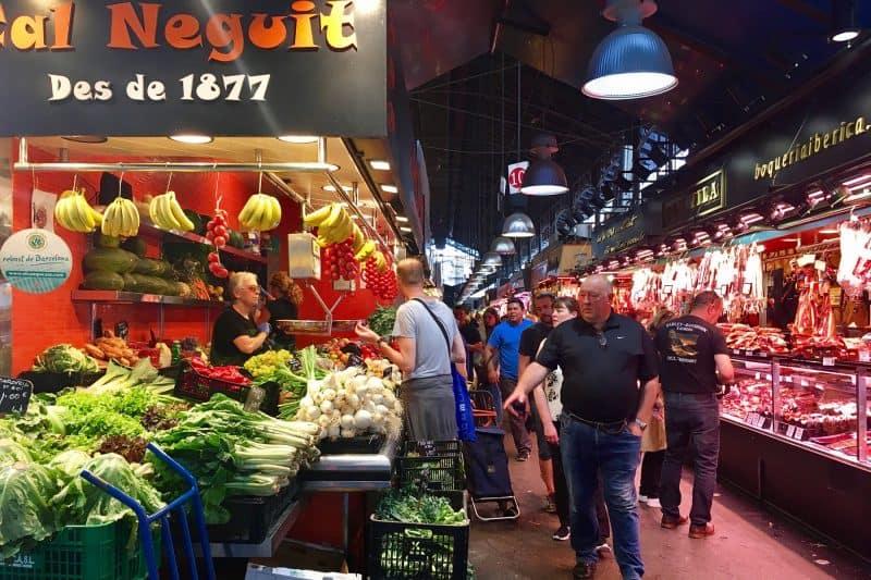 vegetable stall in La Boquería