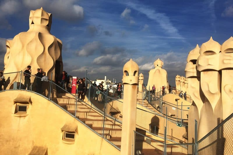 la pedrera roof with chimneys