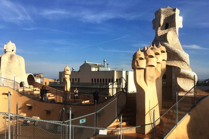 la pedrera roof and chimneys