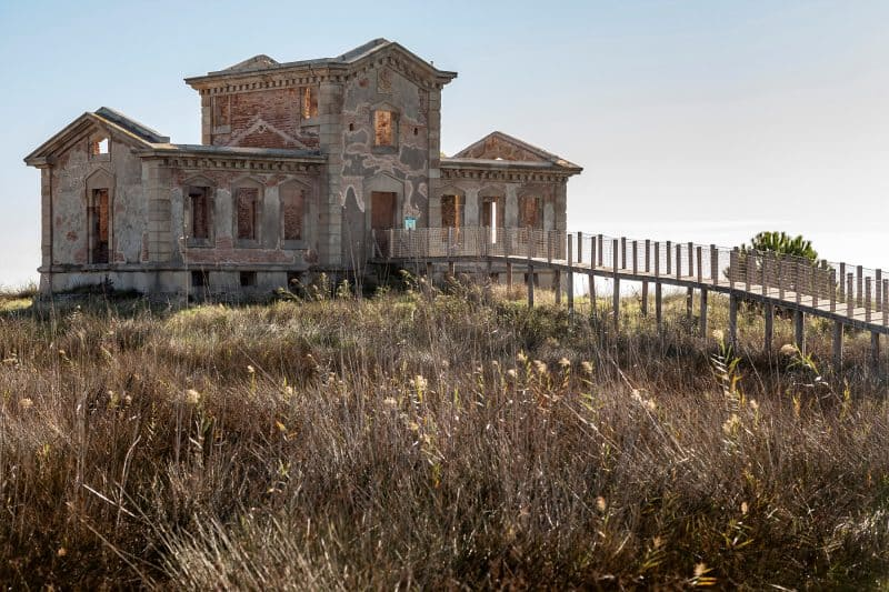 abandoned building on llobregat delta