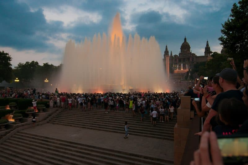 the magic Fountain show at the Montjuic