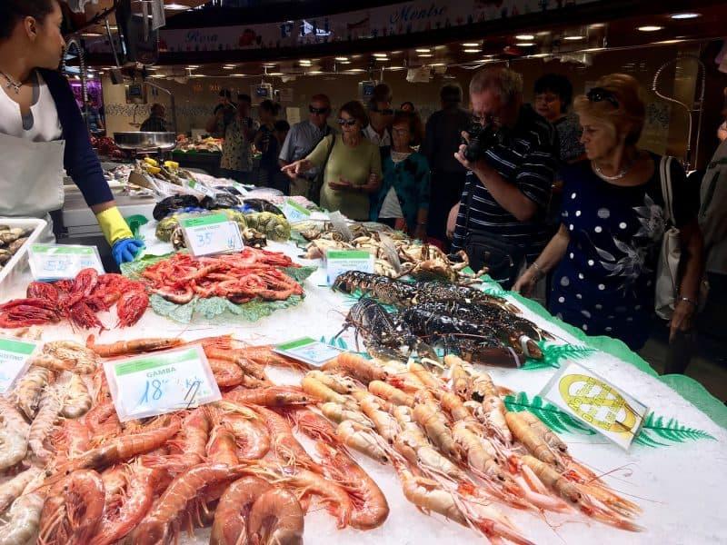 Fish and Shrimps at Mercat de la Boqueria