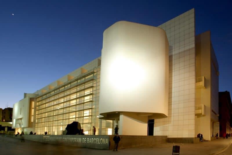 MACBA museum in Barcelona at night