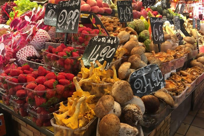 colorful mushrooms in la boqueria market