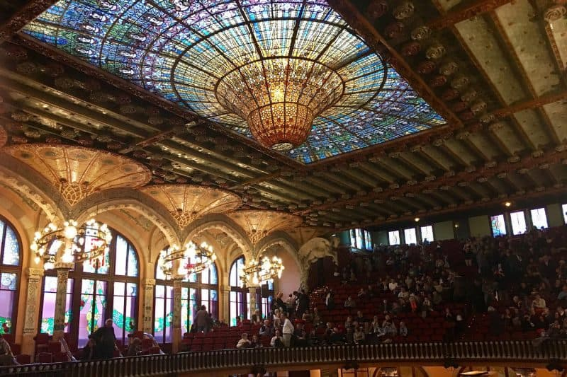 The concerthall with a stained glass roof