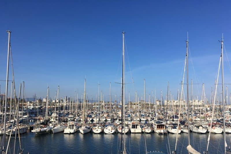 barcelona harbor and sailboats
