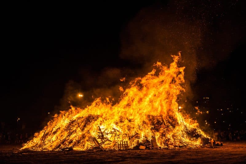 sant joan bonfire on the beach