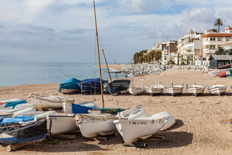 fishing boats on sant pol beach