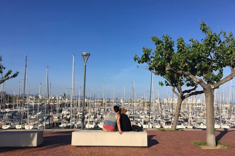 bench in the port of barcelona