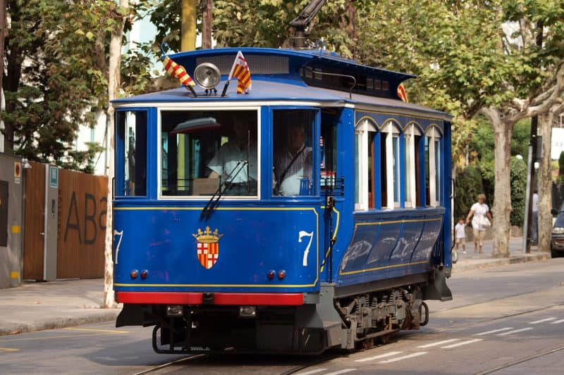 blue streetcar in barcelona