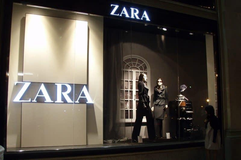 Zara shop window at night