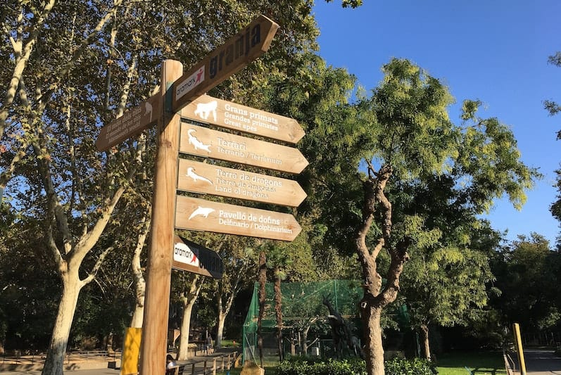 direction pointers at Parc Zoològic de Barcelona